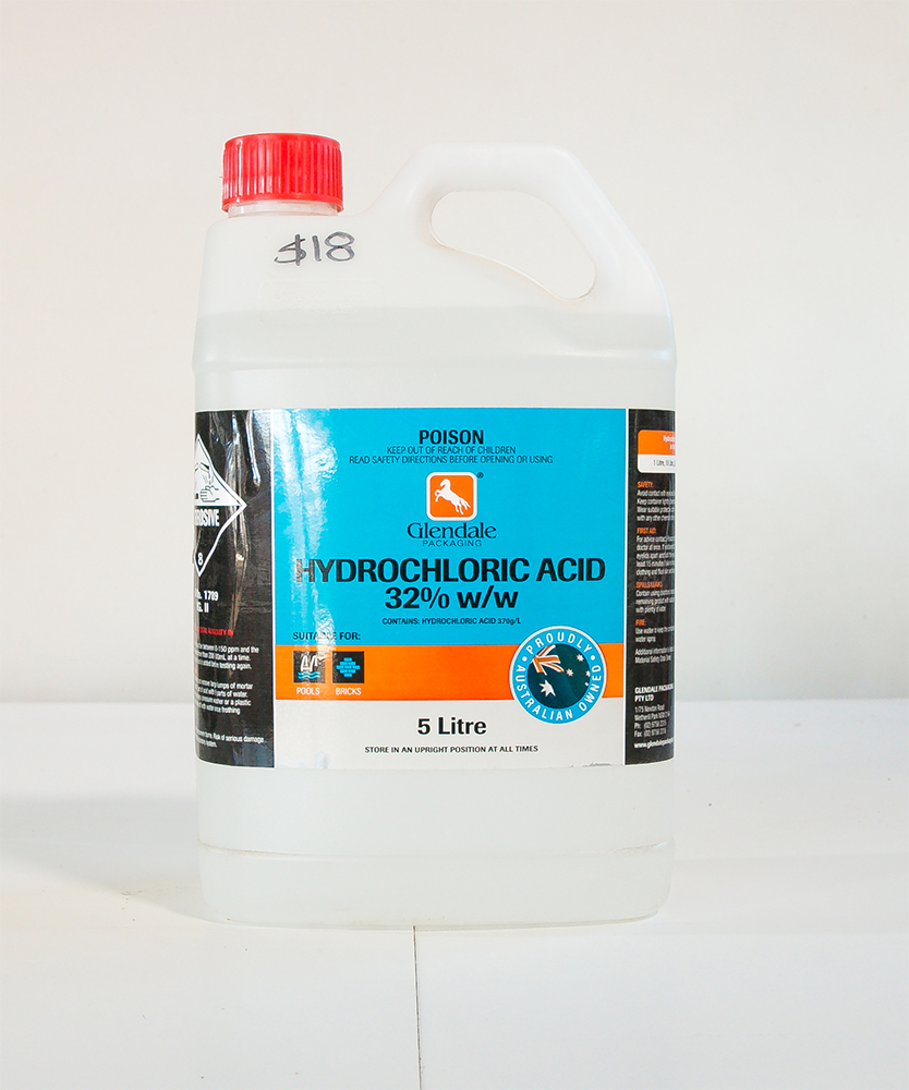 Hydrochloric acid the rock yard albury wodonga for Hydrochloric acid for cleaning concrete